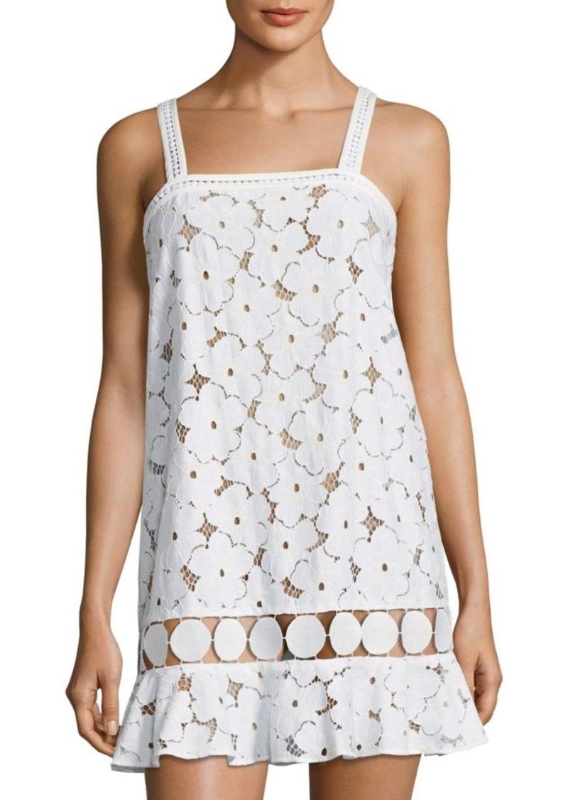 f2899fc8264a kisuii Adi Circle Trim Floral Lace Cover-Up Dress | Swimwear