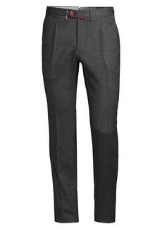 Kiton Birdseye Slim Wool Trousers