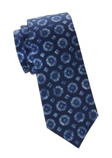 Kiton Blue Medallion Silk Tie
