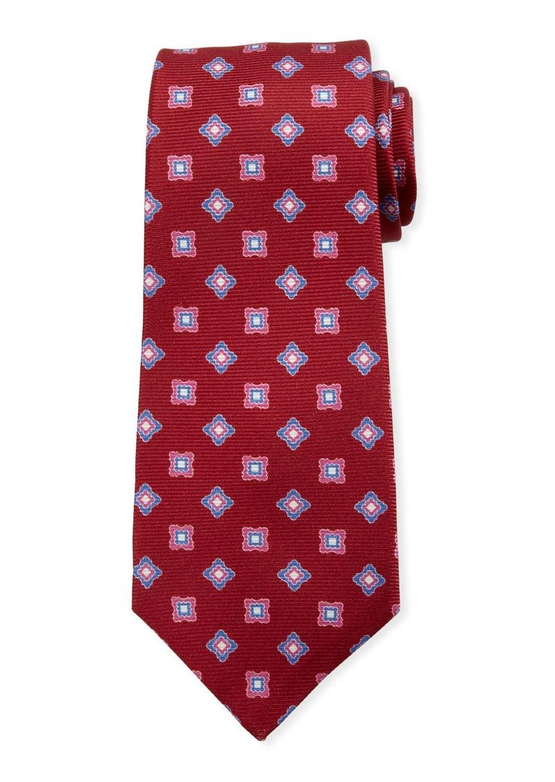 Kiton Boxes & Diamonds Silk Tie  Red