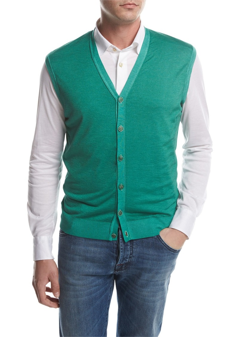 Kiton Cashmere-Silk Cardigan Vest