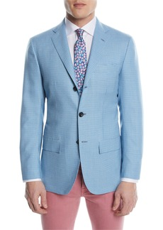 Kiton Check Cashmere Two-Button Sport Coat