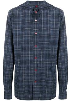 Kiton check hooded shirt