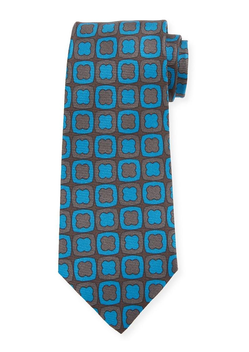Kiton Clover-on-Box Silk Tie  Aqua