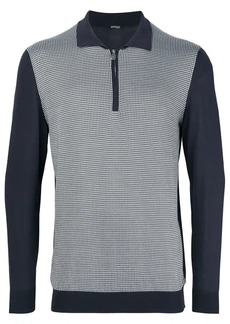 Kiton colour block polo sweater