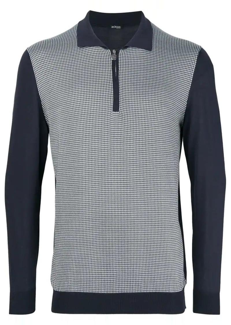 Kiton colour block polo sweater