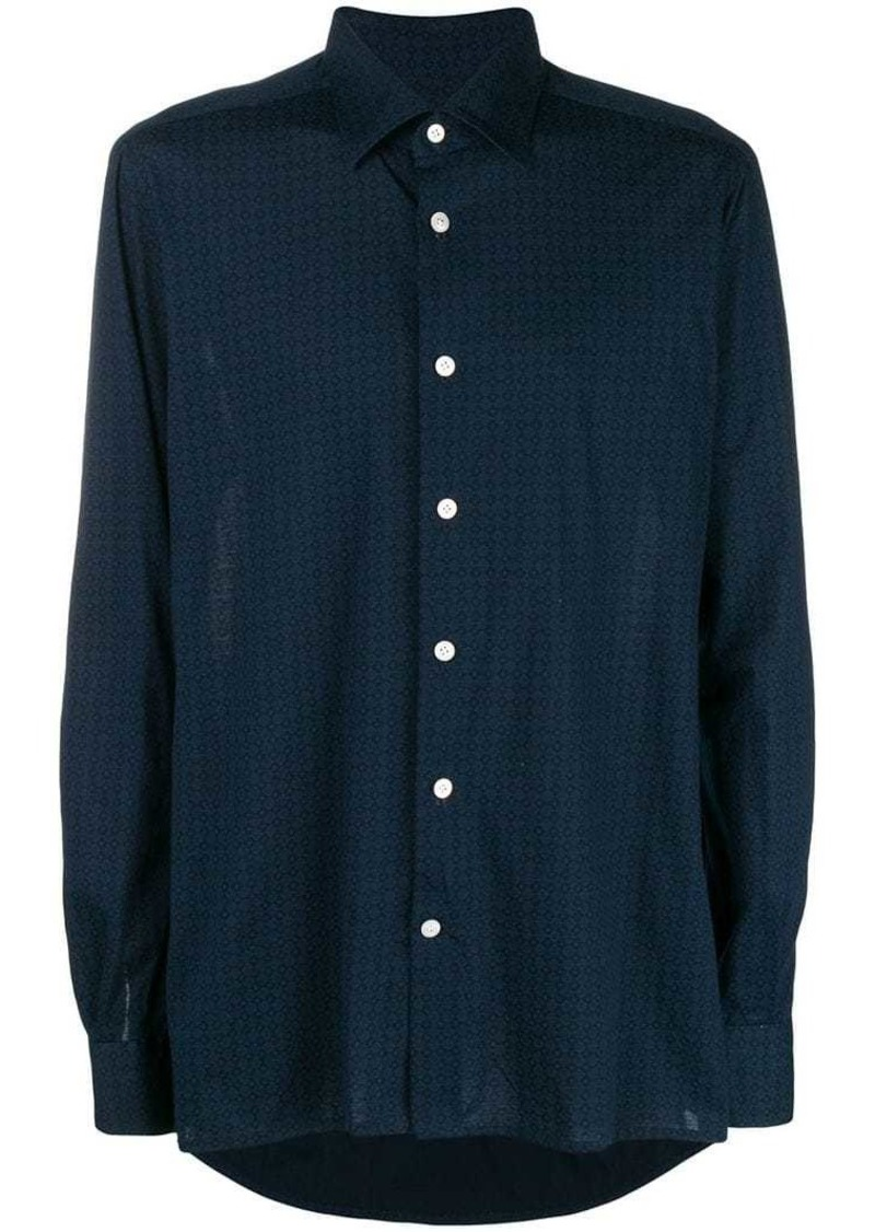 Kiton diamond print classic collared shirt
