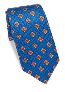Kiton Diamond-Print Silk Tie