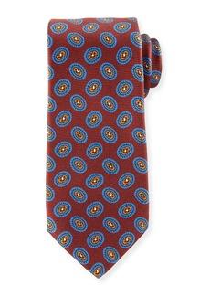 Kiton Fancy Ovals Silk Tie  Red