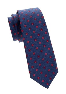 Kiton Floral Medallion Silk-Linen Tie