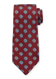 Kiton Flower Dots Silk Tie  Red