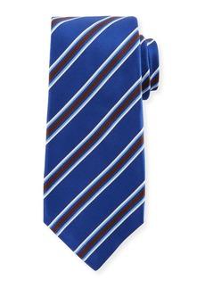 Kiton Framed Satin Stripe Tie  Blue