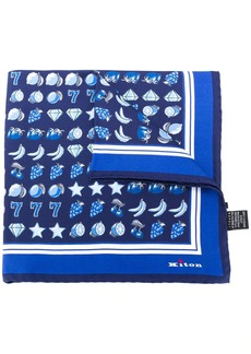 Kiton gambling-print pocket square