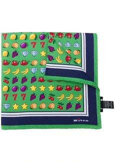 Kiton gambling-print silk scarf