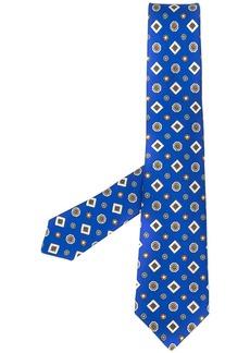 Kiton geometric embroidered silk tie