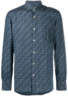 Kiton geometric-print linen shirt