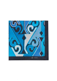 Kiton Geometric Silk Pocket Square