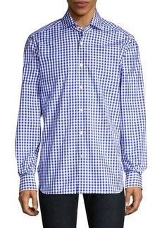 Kiton Gingham Linen Button-Down Shirt