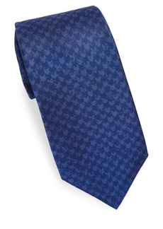 Kiton Herringbone Print Silk Tie