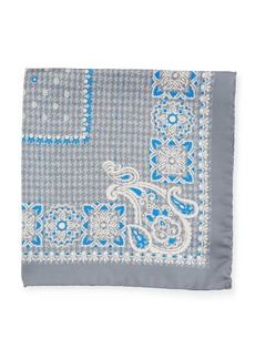 Kiton Houndstooth Silk Pocket Square