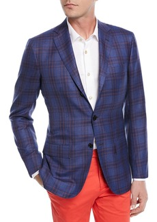 Kiton Cashmere-Silk Plaid Sport Coat