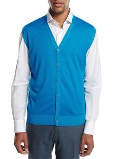 Kiton Cashmere-Silk V-Neck Cardigan Vest