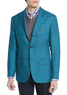 Kiton Cashmere/Silk Plaid Three-Button Sport Coat