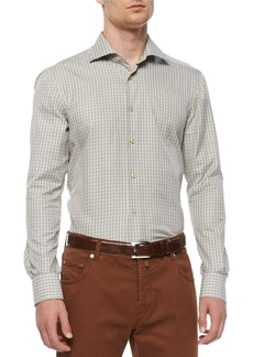 Kiton Check Long-Sleeve Woven Shirt