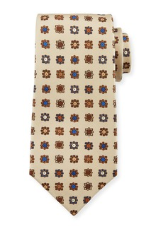 Kiton Circle in Box Silk Tie  Beige