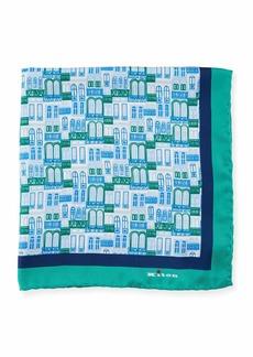 Kiton City Windows Silk Pocket Square