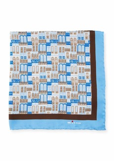 Kiton City Windows Silk Pocket Square