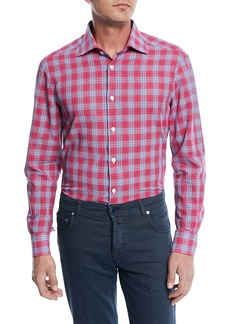 Kiton Cotton/Linen Plaid Sport Shirt