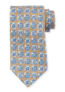 Kiton Diamond-Print Silk Tie