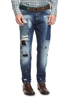 Kiton Distressed Straight-Leg Jeans