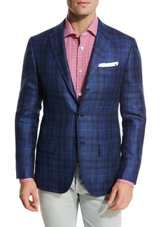 Kiton Exploded Plaid Three-Button Sport Coat