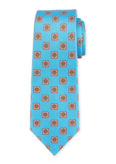 Kiton Fancy Medallion-Print Silk Tie