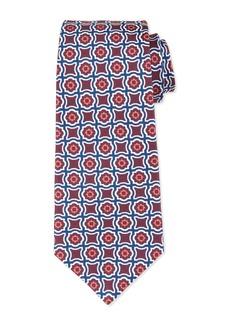 Kiton Fancy Medallion-Print Silk Tie