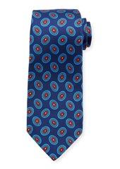 Kiton Fancy Ovals Silk Tie  Blue