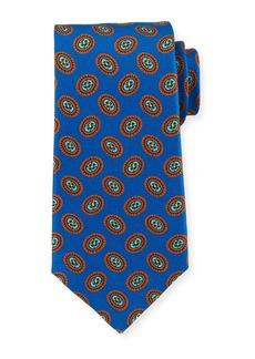 Kiton Fancy Ovals Silk Tie  Royal