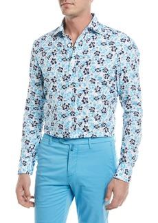 Kiton Floral-Print Cotton Sport Shirt