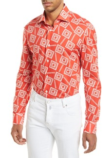 Kiton Floral-Print Long-Sleeve Shirt