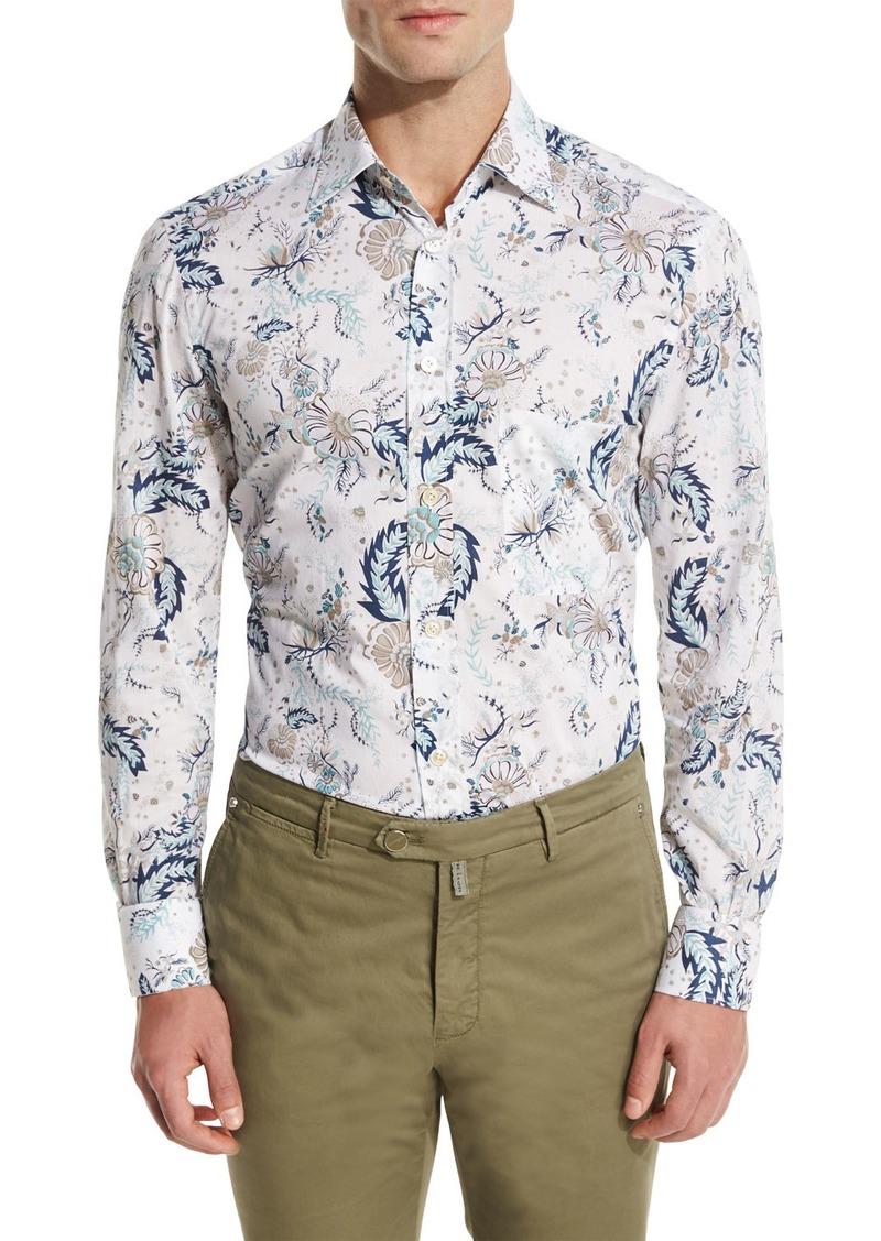 Kiton Floral-Print Oxford Sport Shirt