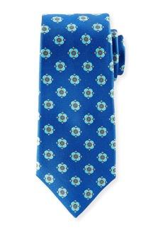 Kiton Flower Dots Silk Tie  Royal