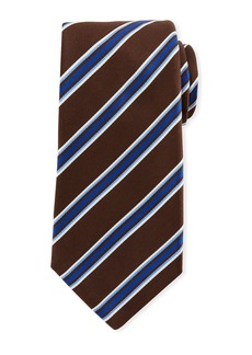 Kiton Framed Satin Stripe Tie  Brown
