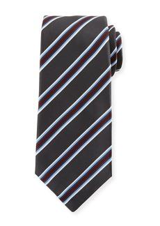 Kiton Framed Satin Stripe Tie  Gray