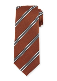 Kiton Framed-Stripe Silk Tie