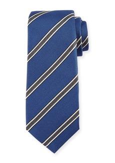 Kiton Framed-Stripe Silk Tie
