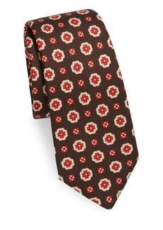 Kiton Geometric Medallion-Print Silk Tie