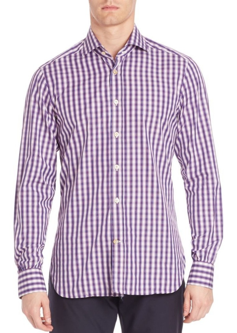 Kiton Gingham Casual Button-Down Shirt