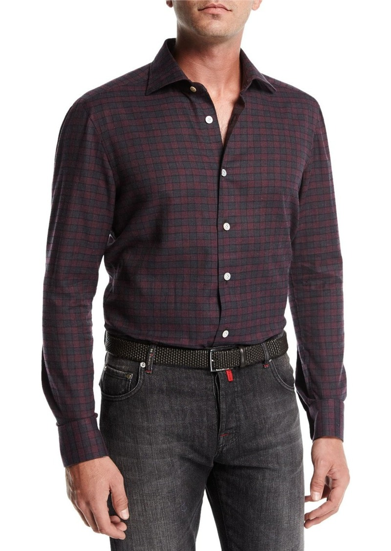 Kiton Gingham Cotton Shirt